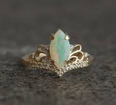 marquise opal engagement ring solid gold ethiopian opal