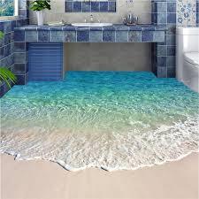self adhesive wallpaper blue beibehang floor painting blue sea reef scenery waterproof bathroom