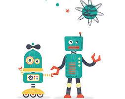 hipster robot poster etsy