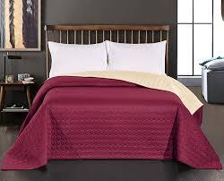 Schlafzimmerm El Rot Decoking 12147 Tagesdecke 260 X 280 Cm Bordeaux Creme Bettüberwurf