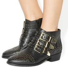 womens boots office womens office lucky charm studded boots black leather gold