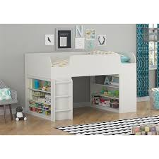 altra elements white loft bed with two bookcases by cosco free