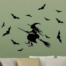 online shop halloween wall sticker festival black broom witch