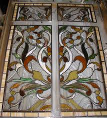 Antique Stained Glass Door by Art Nouveau Style Leaded Stained Glass Pocket Door Panels