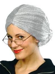 adults light grey old lady grandma fancy dress wig ebay