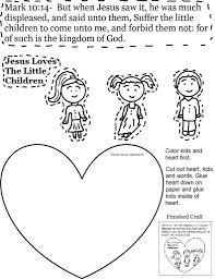jesus loves children sunday lesson and the little coloring