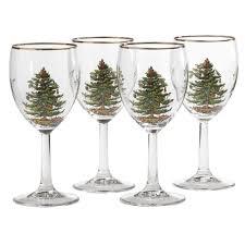 spode christmas tree set of 4 wine glasses spode usa