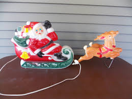 Lighted Santa And Reindeer Outdoor by Vintage 1970 Empire Lighted Santa Claus Sleigh U0026 2 Reindeer