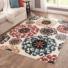 Orange Area Rug With White Swirls Accent Rugs Walmart Com