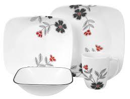 Corelle Square 30 Piece Dinnerware Set Corelle Square Mandarin Flower 16 Piece Dinnerware Set Home