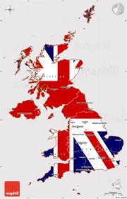 flag simple map of united kingdom
