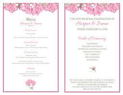 vow renewal program templates free vow renewal invitation suite pink roses
