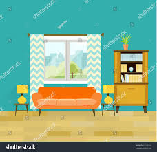 retro living room furniture cozy interior stock vector 477340642
