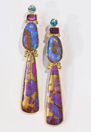 turquoise opal earrings boulder opal earring with dyed turquoise infused with bronze
