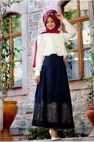 pinar sems şems muslim laser pattern skirt navy