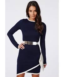 missguided hoshi long sleeve asymmetric bodycon dress navy in blue