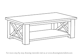 learn how to draw a coffee table furniture step by step