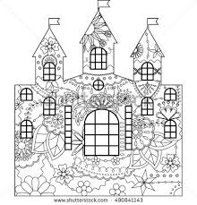 relaxing coloring fairy castle forest stock vector 446717128