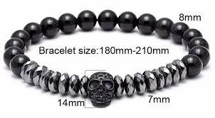 skull bracelet bead images Men jewelry crown 8mm beads bracelet warrior titanium steel jpg