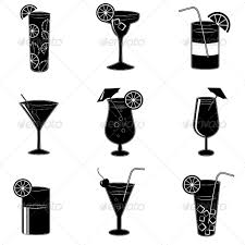 pictograms of party cocktails with alcohol by macrovector