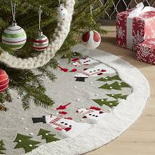 snowman tree skirt crate and barrel