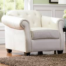 White Leather Club Chairs Off White Bonded Leather Sofa By Coaster W Options