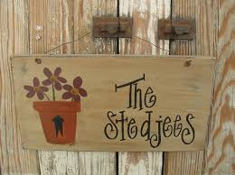 personalized flower pot primitive personalized flower pot with flowers painted sign