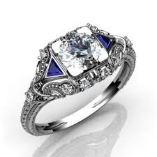 hand crafted diamond and blue sapphire vintage art deco engagement