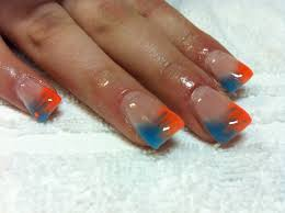 bright colors gel nails blue color gel french tip gel nails nail