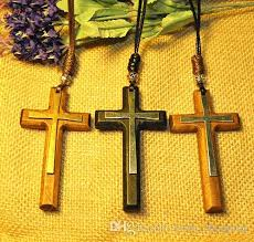 wholesale jesus 3d wood cross pendant necklacea vintage tibetan