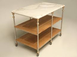 marble top kitchen island stainless steel and bronze kitchen island with calcatta marble top