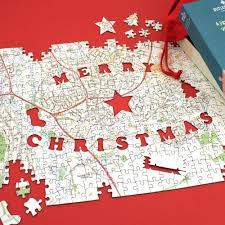 World Map Puzzles by Personalised Map Christmas Jigsaw Puzzle Historic Newspapers