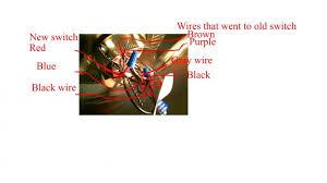 symbols red blue black wires ceiling fan red black blue wires
