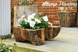tree stump planters chez v stump planters for sale and a chinoiserie acrylic tray