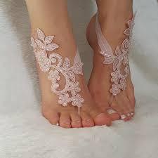 blush pink beaded beach wedding barefoot sandals country wedding