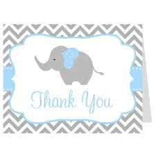chevron elephant blue thank you card boys thank you cards and