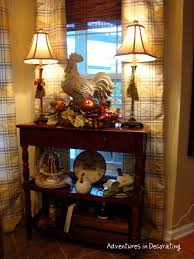 dining room or kitchen accent table with buffet lamps rooster