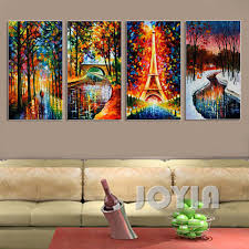 4 panel abstract landscape textured paintings eiffel tower snow
