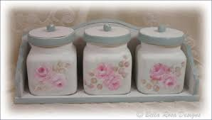 hand painted pink roses kitchen canister set
