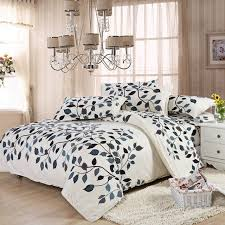 Cheap Bed Duvets Twin Full Cotton Leaves White Blue Brown Morden Style Duvet Covers