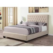 Queen Size Bed With Mattress Upholstered Queen Size Bed With Tufted Headboard U0026 Oatmeal Color