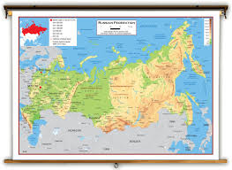 Russian Map Russia Physical Educational Wall Map From Academia Maps