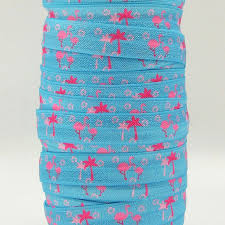 elastic ribbon wholesale q n ribbon wholesale oem 5 8inch flamingoes printed folded
