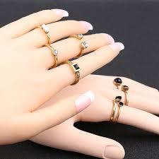 black finger rings images 8pcs sets vintage finger ring black resin white crystal gold color jpg