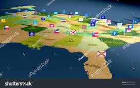 All The States Flags Detail Map United States All 50 Stock Illustration 69270928