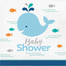 whale baby shower lunch napkins 16 ct