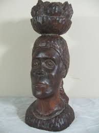 signed carved wood sculpture of by jamaican