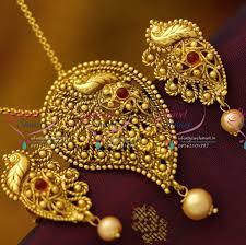 pendant necklace online images Ps1926 antique nagas chain pendant sets south indian temple JPG