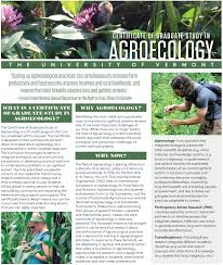 certificate of graduate study in agroecology uvm agro ecology