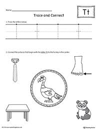 trace letter t and connect pictures worksheet myteachingstation com